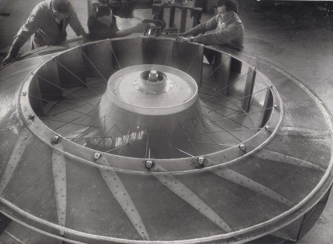 Hovercraft Lift Fans (11ft diameter) for Vickers VA3 (c.1971-74) | Original photo in the Dowty archive at the Gloucestershire Heritage Hub