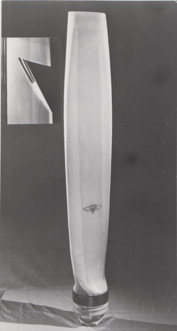 Vosper Thorneycroft Fibreglass Hovercraft Propeller Blade (c.1971-74) | Original photo in the Dowty archive at the Gloucestershire Heritage Hub