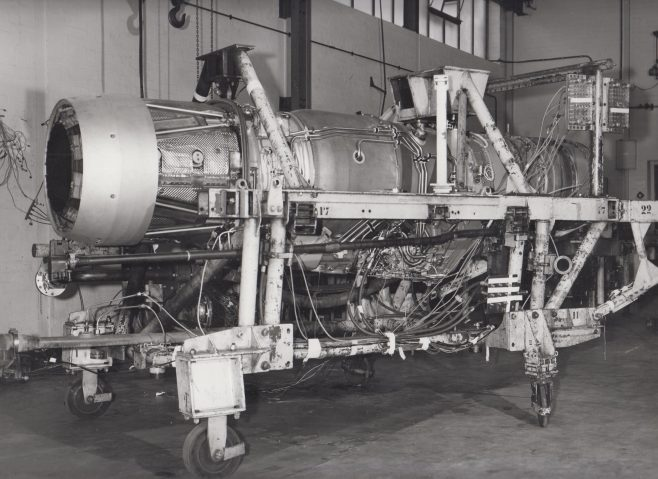 Test Rig for Adour Jet Engine (Jaguar) | Original photo in the Dowty archive at the Gloucestershire Heritage Hub