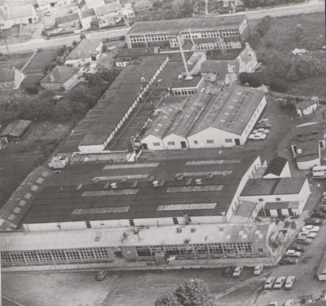 Aerial view of the New Mendip Engineering (DFS Atworth) works at Atworth, Wiltshire c.1974   Original photo in the Dowty archive at the Gloucestershire Heritage Hub