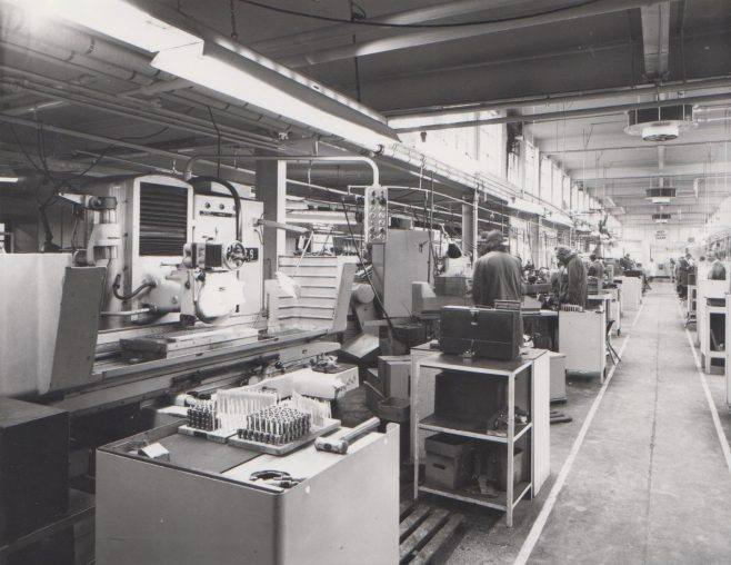 Machine Shop c.1974 | Original photo in the Dowty archive at the Gloucestershire Heritage Hub