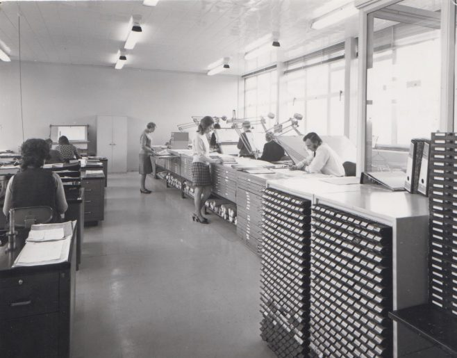 Drawing Office c.1974   Original photo in the Dowty archive at the Gloucestershire Heritage Hub
