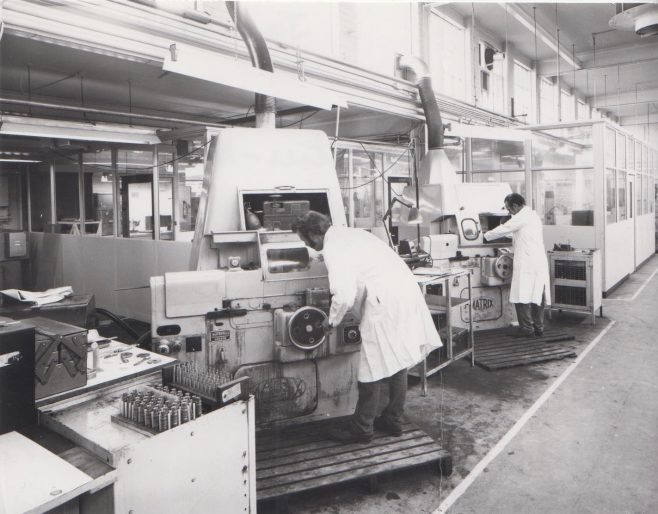 Grinding Shop c.1974 | Original photo in the Dowty archive at the Gloucestershire Heritage Hub