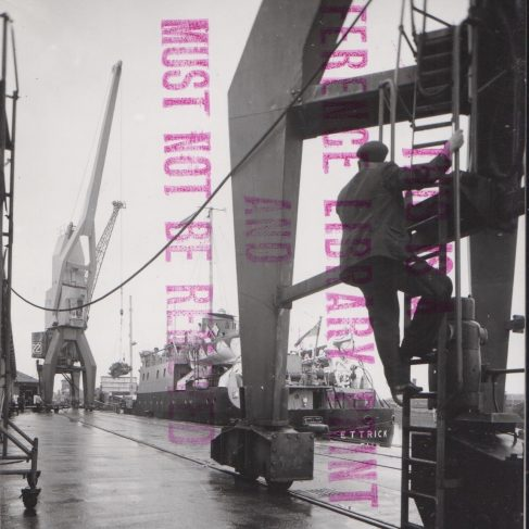 Dowmax drive system on Dockside Cranes at Leith and Newport docks | Original photo in the Dowty archive at the Gloucestershire Heritage Hub