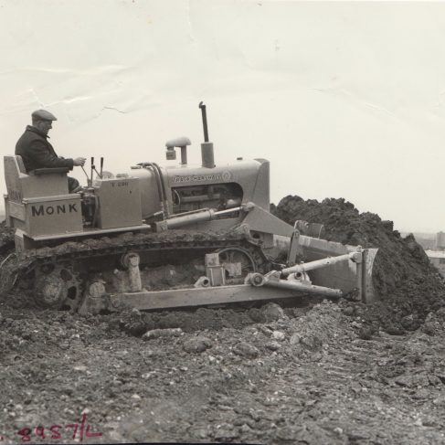 Industrial Track-Marshall 50 BHP Diesel Crawler Tractor equipped with Marshall Hydraulic Angledomer c.1960 | Original photo in the Dowty archive at the Gloucestershire Heritage Hub