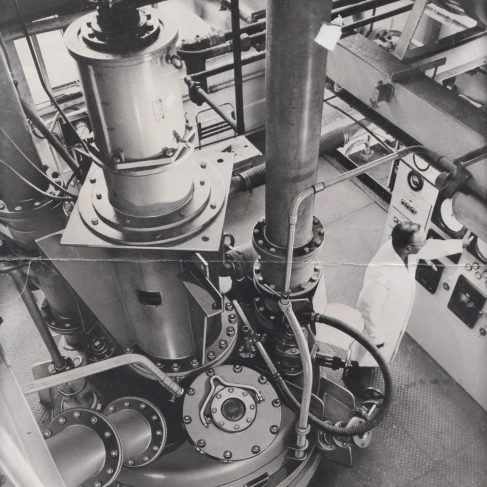Dowmax motor stirrer on synthetic resin reactor at BXL Plastics Materials Group London | Original photo in the Dowty archive at the Gloucestershire Heritage Hub