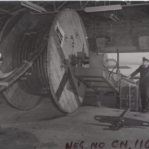 Dowmax drive systems on cable laying equipment | Original photo in the Dowty archive at the Gloucestershire Heritage Hub