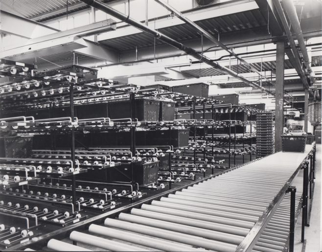Dowty glide wheels and rollers installed at a Denham Knitwear factory | Original photo in the Dowty archive at the Gloucestershire Heritage Hub