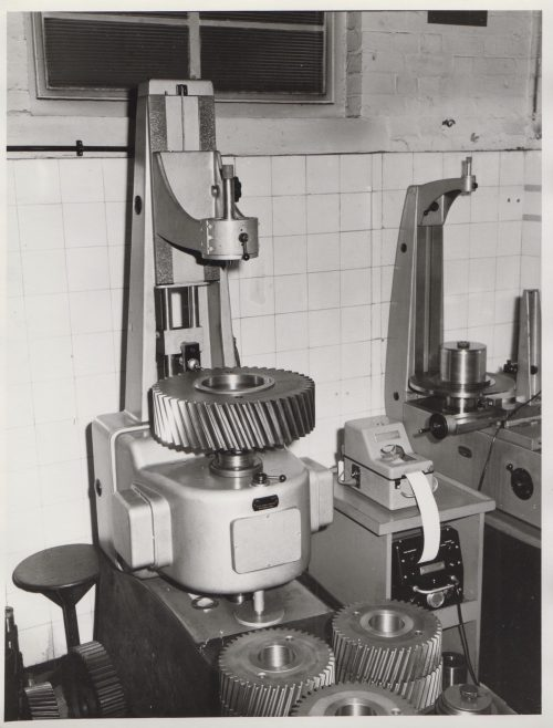 Test Room for checking the helix and involute form of gears | Original photo in the Dowty archive at the Gloucestershire Heritage Hub