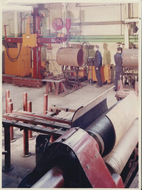 Arc Welding Conveyer Drum Shells | Original photo in the Dowty archive at the Gloucestershire Heritage Hub