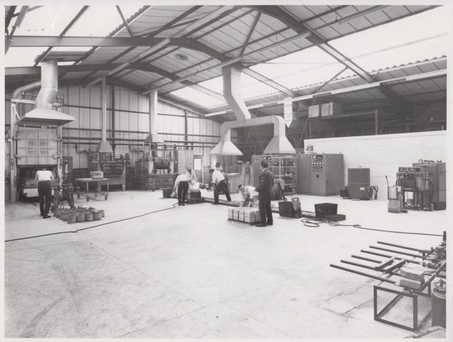 Casting Shop c. 1972-4 | Original photo in the Dowty archive at the Gloucestershire Heritage Hub