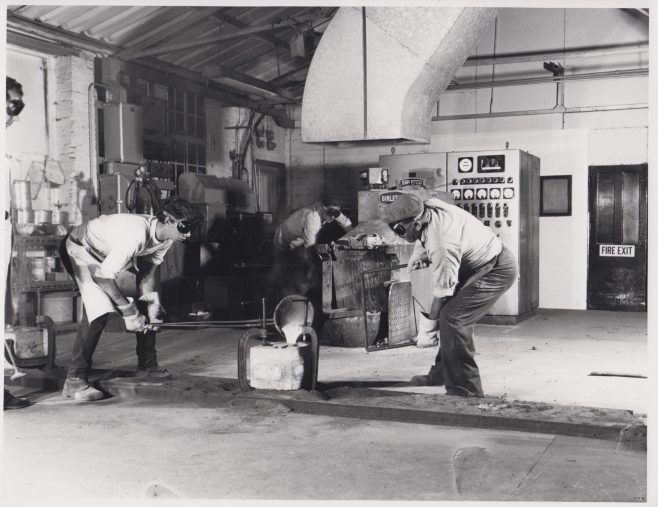 Metal Casting using the Shaw Process | Original photo in the Dowty archive at the Gloucestershire Heritage Hub