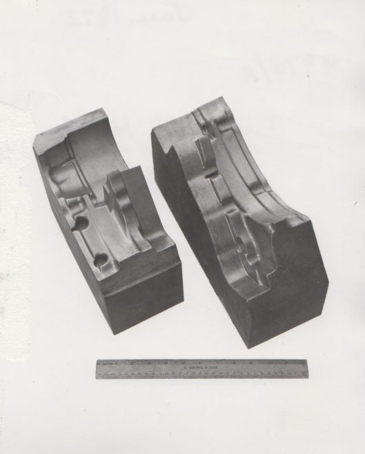 Metal castings from Innsworth Metals using Shaw Process   Original photo in the Dowty archive at the Gloucestershire Heritage Hub