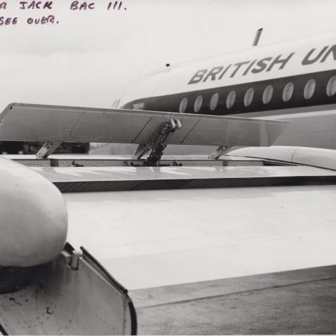 Spolier Jack on BAC 1-11 | Original photo in the Dowty archive at the Gloucestershire Heritage Hub