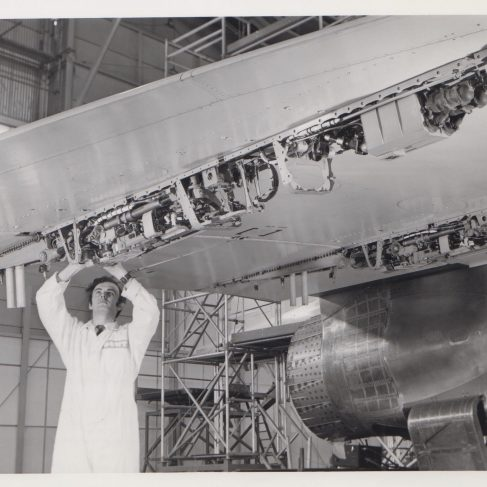 Dowty Service Engineer working on Aircraft Systems | Original photo in the Dowty archive at the Gloucestershire Heritage Hub