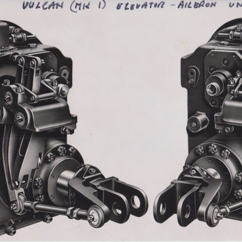 Vulcan Elevator Aileron Control Units | Original photo in the Dowty archive at the Gloucestershire Heritage Hub