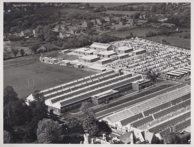 Aerial view of Dowty Fuel Systems & Arle Court | Original photo in the Dowty archive at the Gloucestershire Heritage Hub