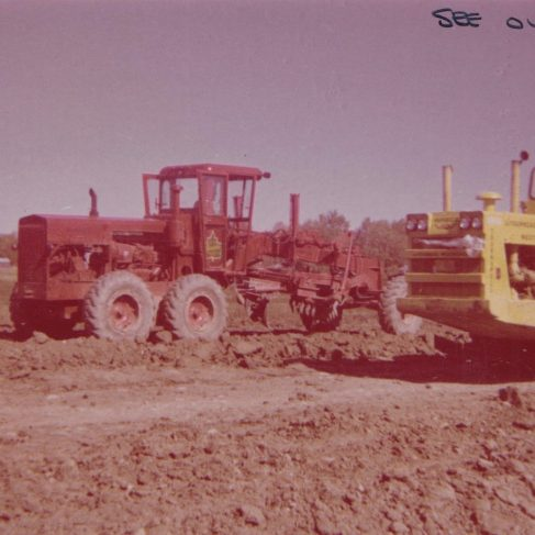 Champion D640 Grader with Hydroglas Transmission on Trans Canada Highway | Original photo in the Dowty archive at the Gloucestershire Heritage Hub