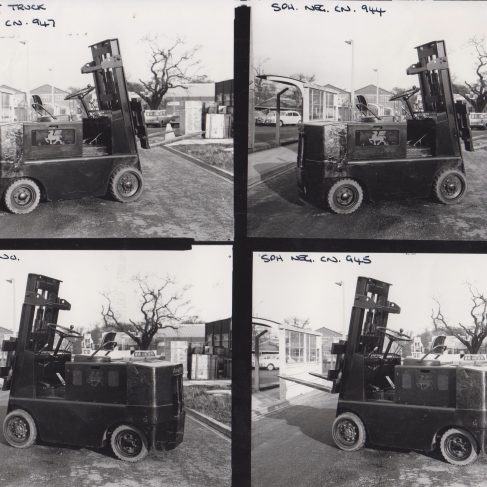 Dowmatic Drive System fitted to Lansing Bagnall Fork Lift Truck | Original photo in the Dowty archive at the Gloucestershire Heritage Hub