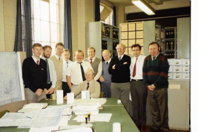 Estimating Department - John Flett with L-R  Andrew Fardon, Pete Simons, Paul Hayward, John Stevens, Keith Jones, Terry White, Alan Bradley, John Davis, Stan Ristic, Ian Day | Alan Bradley