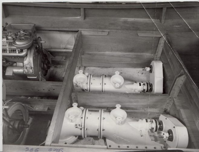 Dowty Turbo Jet installed on a boat c.1970-72 | Original photo in the Dowty archive at the Gloucestershire Heritage Hub