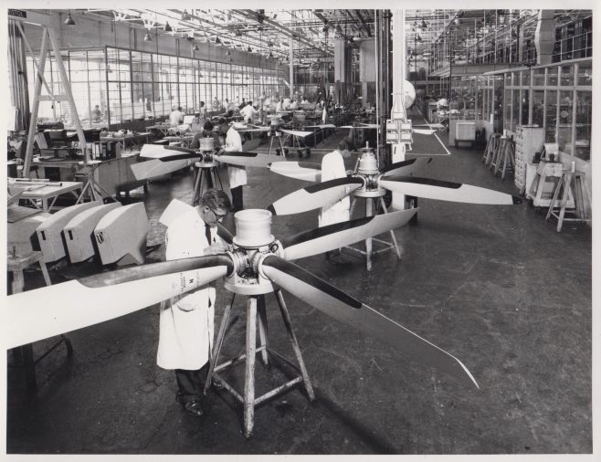 Dowty Rotol - Propeller Assembly | Original photo in the Dowty archive at the Gloucestershire Heritage Hub