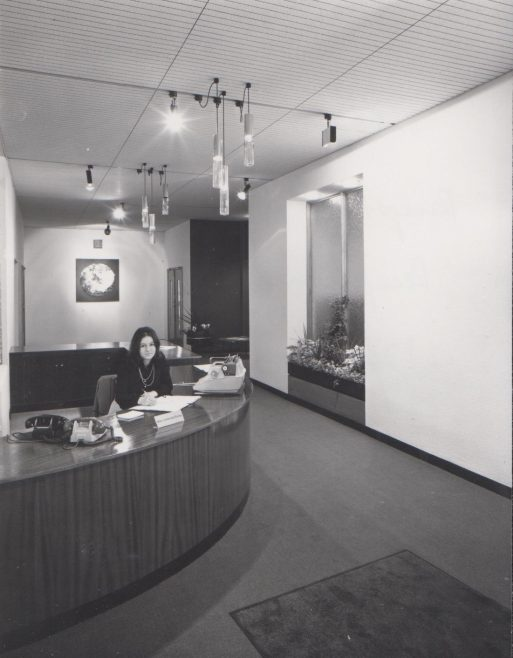Dowty Fuel Systems - Reception Office The receptionist in photo was aged 18, Johannah Rainey. | Original photo in the Dowty archive at the Gloucestershire Heritage Hub