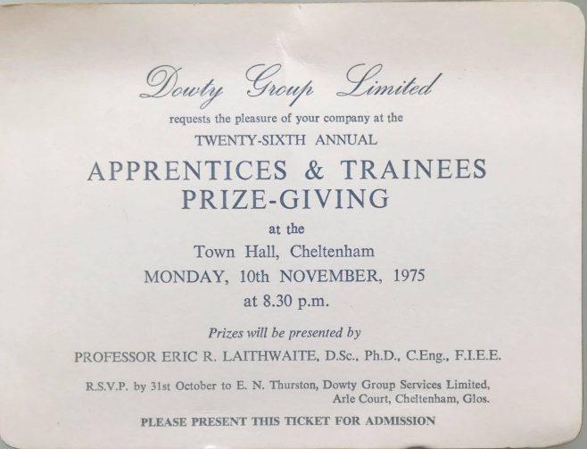 Apprentice Prizegiving Invitation with Presenter; Eric Laithwaite -1975 | Jonathan Ward