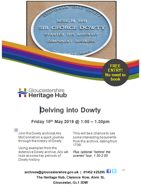 Delving into Dowty - Gloucestershire Heritage Hub 10 May 2019   Original photo in the Dowty archive at the Gloucestershire Heritage Hub