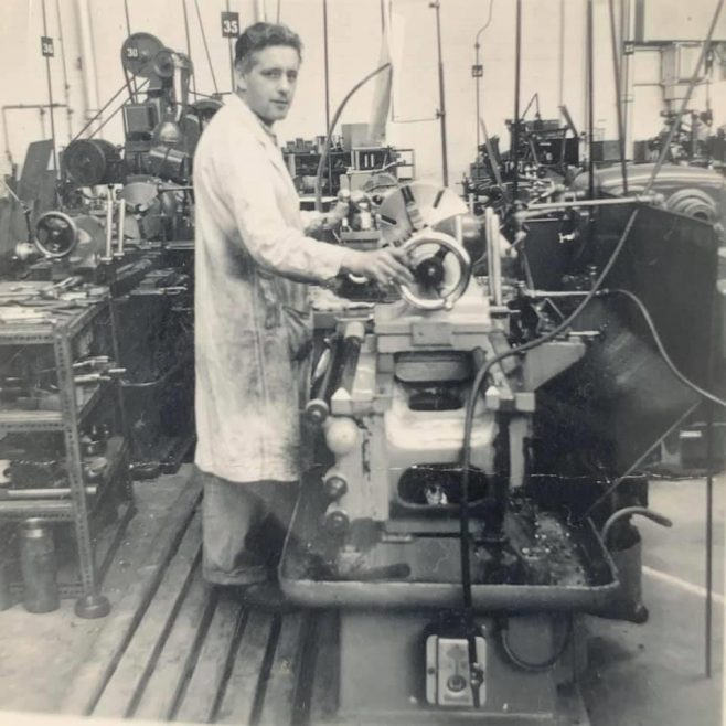 Dowty Mining Equipment - John Bliss (Billy) at his centre lathe | Barbara Wilson