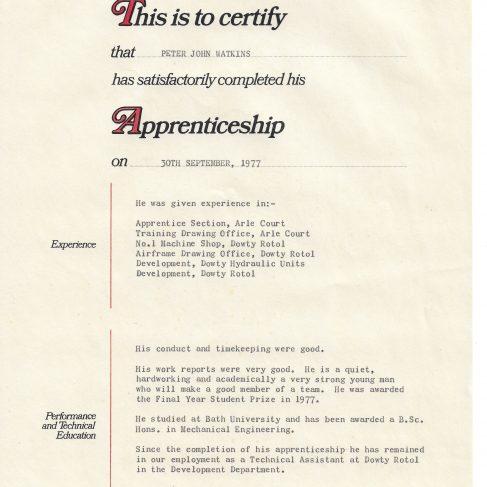 Peter Watkins 1977 - Apprentice Completion Certificate | Peter Watkins