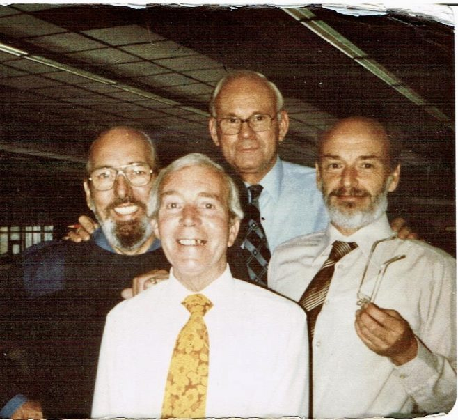 Dowty Rotol Drawing Office in 1981. L-R Phil Bevans, Jack Woodcock, Cyril Bramley and Bob Williams | Brian Woodcock
