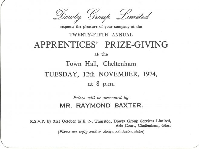Apprentice Prizegiving Invitation with Presenter; Raymond Baxter - 1974 | Peter Watkins