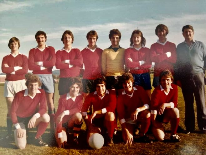Gordon Payne (with the ball); Mike Giles... Back left Rocky; Nick Mabbut; Alan Wright and Jack Lytheer | David Gorick