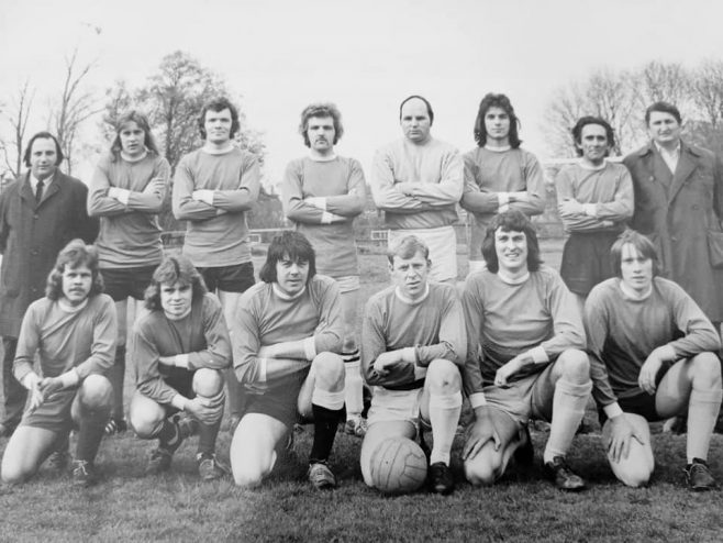 Back: Dicky Williams; ?; Graham Griffiths; Paddy Turner; Nick Nicolou; Jack Lytheer. Front: Bob Daffurn; Derrick Kibble; ?; Dave Gorick; Captain Clive Stoddart | David Gorick
