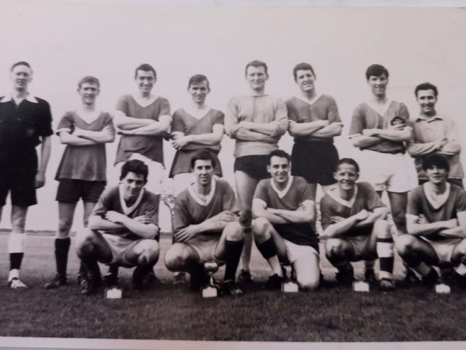 Dowty Rotol Interdepartmental Winners (Toolroom & No.3 Shop) 1960s Back L-R: Alan Perrett( Referee); Dave?; Alby Pearce; Brian Tarrant; Mike Teaque; Pete Barton; Andy Findley and Brian? Front L-R: Bob Read; Pete Willis; Mike Cooper; Les Baker and Mike Astwood | Albert Pearce