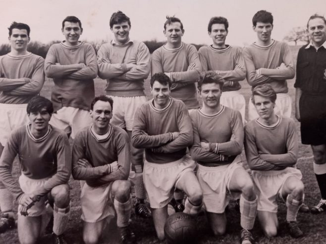 Dowty Rotol Divison 2 Cheltenham Soccer League 1960' Back L-R: Alan?; Alby Pearce; Alan Kirby; Bob Todd; Mick? and Andy Findley Front L-R: Mike Attwood; Frank Durrant; Barry Jackson; Ian Clutterbuck; and Ian Parry, other players were the Loftus Brothers, Les Baker, and Roger Paine | Albert Pearce