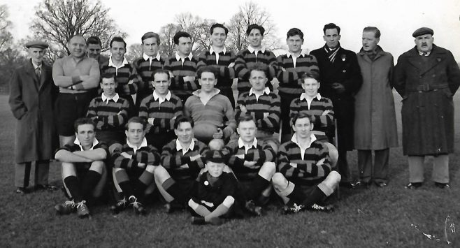 Another Dowty Rugby team - not sure of the date but I am the little lad in the front. so it is well over 60 years ago! (Ken Browning 3rd right at back) | Derek Lockhart