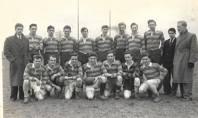 Dowty Apprentices on 29/1/55 - beat Tewkesbury Monks 8 -0. My dad - Tom -is the man in the mac on the right. His playing days were well over by then! | Derek Lockhart