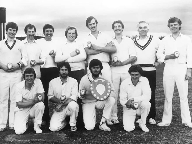 DME purchasing winners of the 1981 inter department cricket competition, some names are Graham Lovett, Derrick Felton, Andy Nixon, Robert Hyde, Colin Thring | Tim Clarke