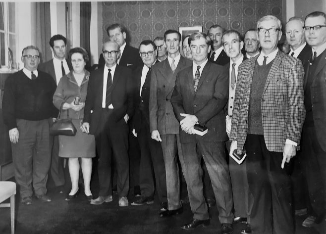 Presentation of watches for 25 years service 1970, Godfrey Ferris 3rd from left | Jean Lee