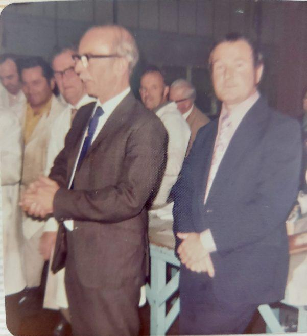 Retirement 1975 Godfrey Ferris with John Laurence   Jean Lee
