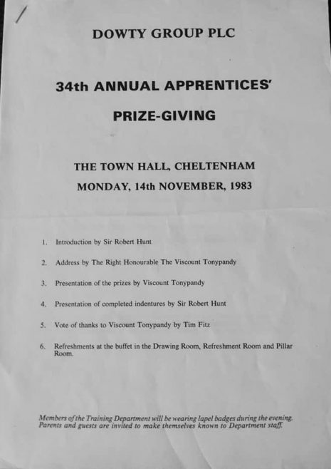 Dowty 34th Annual Apprentice Prize giving November 1983 | Linden Harris