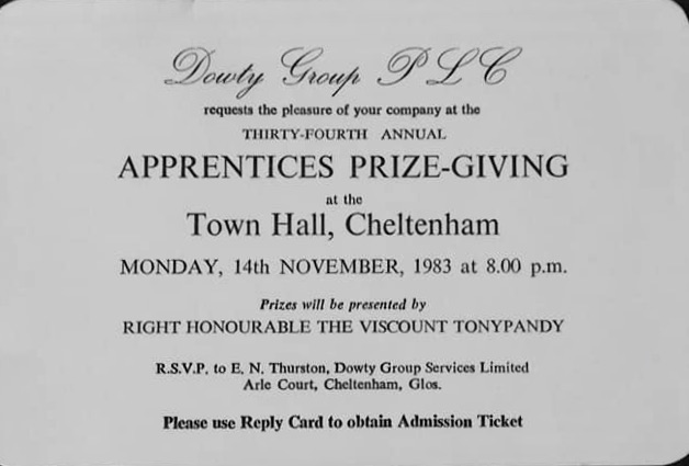 Apprentice Prize-giving Invitation with Presenter; Viscount Tonypandy -1983 | Linden Harris