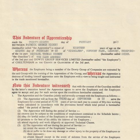 Patrick Hickey 1973 - Apprentice Indenture Agreement | Patrick Hickey