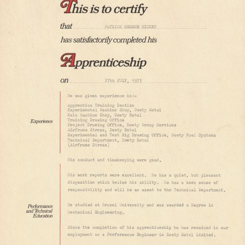 Patrick Hickey 1973 - Apprentice Completion Certificate | Patrick Hickey