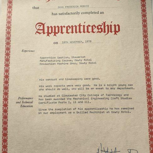 John Frederick Robbie 1979 - Apprentice Completion Certificate | John Frederick Robbie