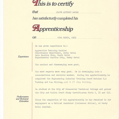Clive Anthony Locke 1972 - Apprentice Completion Certificate | Clive Anthony Locke