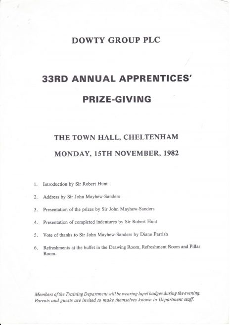 Dowty 33rd Annual Apprentice Prize giving November 1982 | Nick Franklin