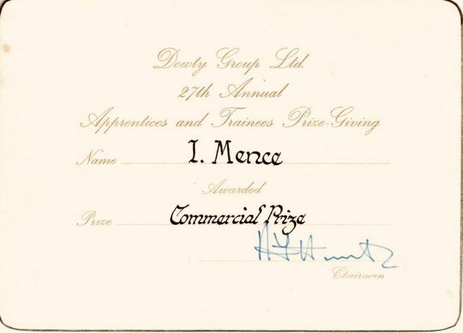 Ian Mence 1977 - Apprentice Commercial Prize Award | Ian Mence